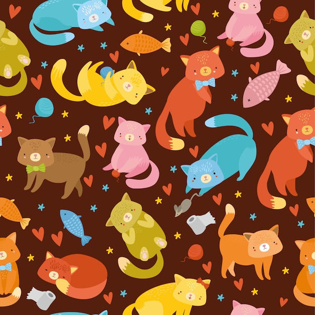 Seamless pattern with multi-colored cats Free Vector