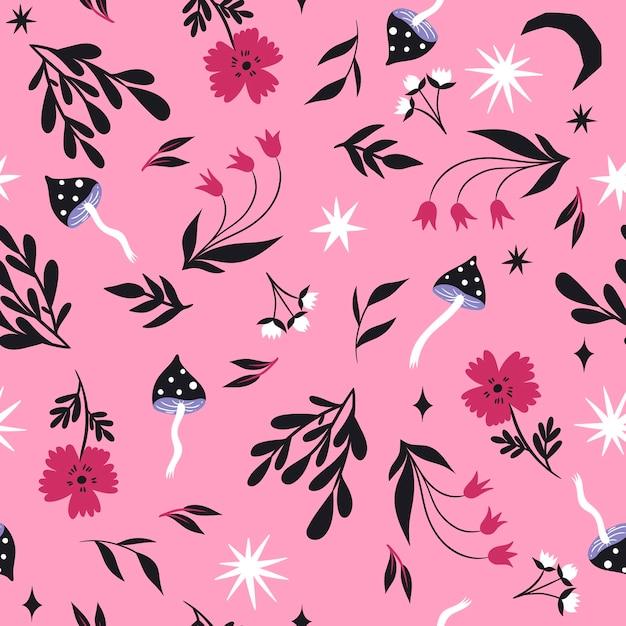 キノコと花のシームレスなパターン。 Premiumベクター