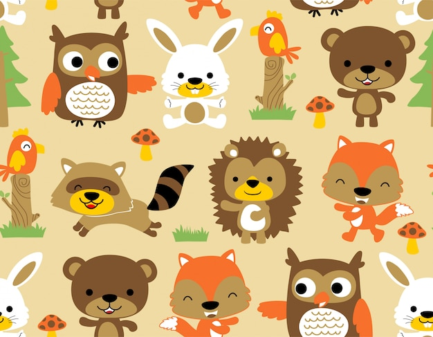 Seamless pattern with nice animals woodland cartoon Premium Vector