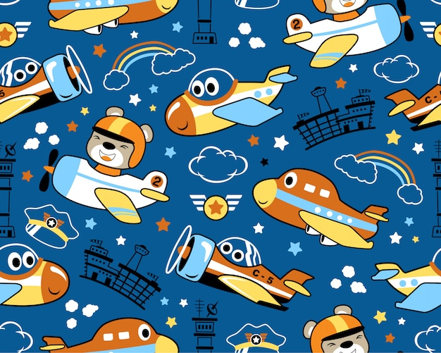 Seamless pattern with nice planes cartoon Premium Vector