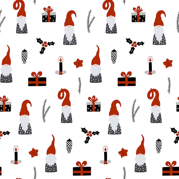 Seamless pattern with nordic gnomes. Premium Vector