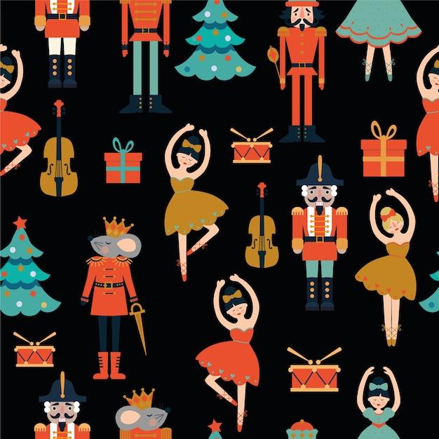 Seamless pattern with nutcracker. tree, violin, ballerina, mouse king. Premium Vector