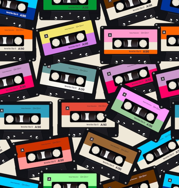 Seamless pattern with old audio cassettes Premium Vector