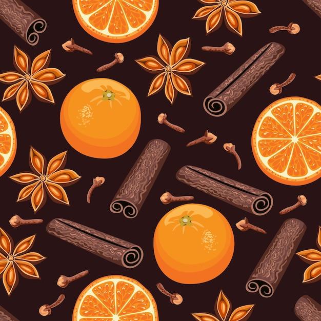 オレンジフルーツシナモンスティックとスターアニスのシームレスなパターン Premiumベクター