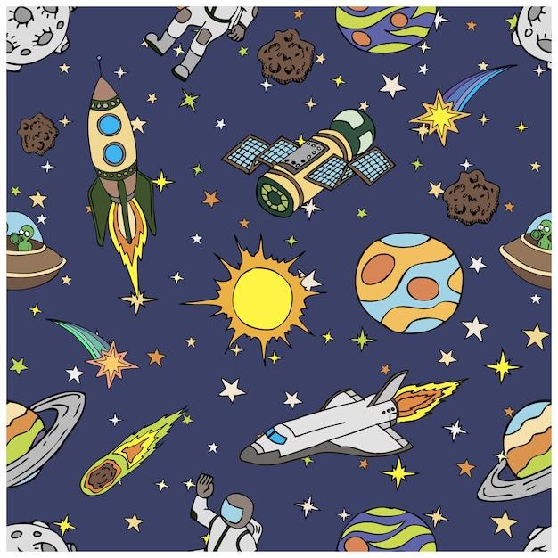 宇宙落書き、シンボルおよびデザイン要素、宇宙船、惑星、星、ロケット、宇宙飛行士、彗星とのシームレスなパターン。漫画のカラフルな背景。手描きイラスト。 Premiumベクター