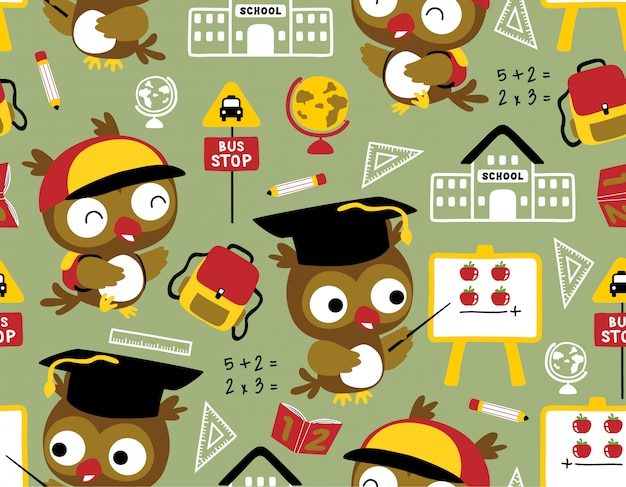 Seamless pattern with owl cartoon with school supplies Premium Vector