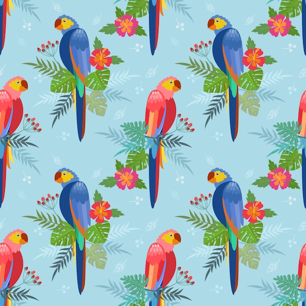 Seamless pattern with parrots. palm leaves, hibiscus flowers Premium Vector