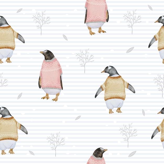 ペンギンと枝の水彩画の冬とのシームレスなパターン 無料ベクター