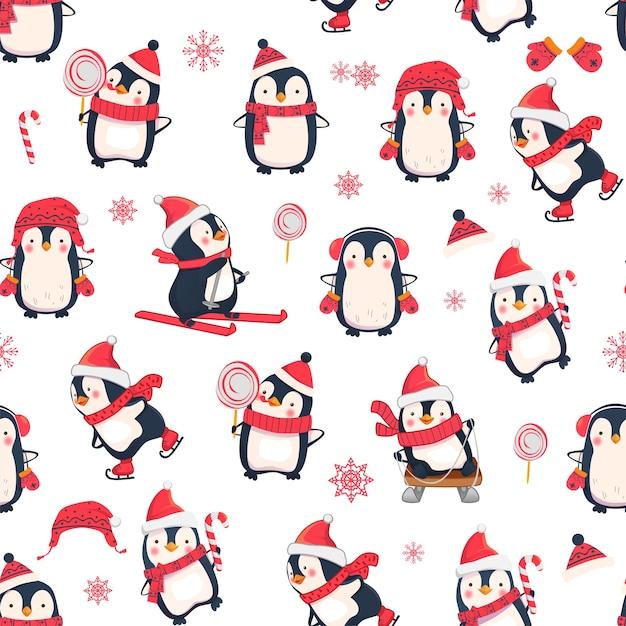 ペンギンとのシームレスなパターン。クリスマスの動物のパターン。 Premiumベクター