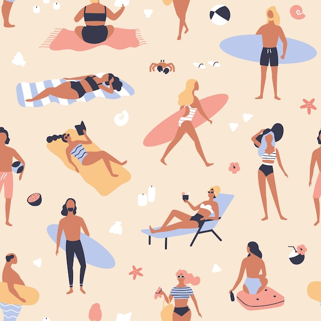 Seamless pattern with people lying on beach and sunbathing, reading books, surfers carrying surfboards. Premium Vector