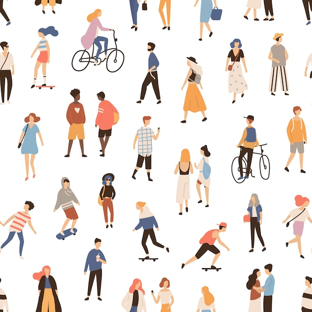 Seamless pattern with people walking on street, riding bike or skateboard. backdrop with men, women and children performing outdoor activities. flat cartoon illustration for textile print. Premium Vector