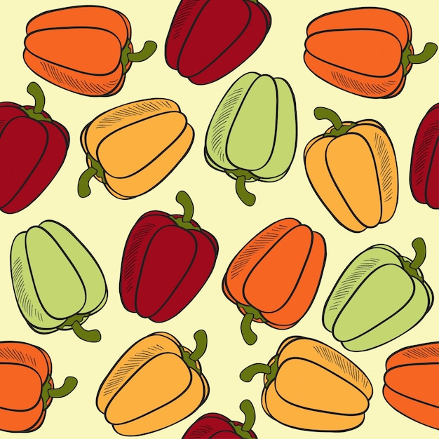 Seamless pattern with peppers Free Vector