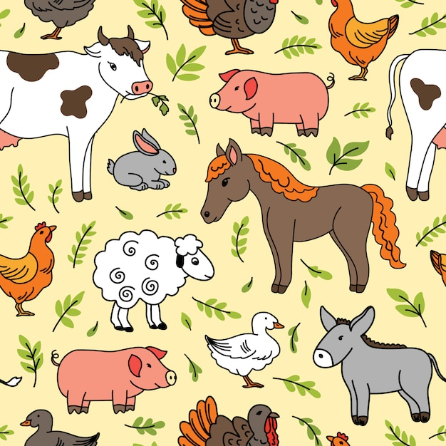 Seamless pattern with pets Premium Vector