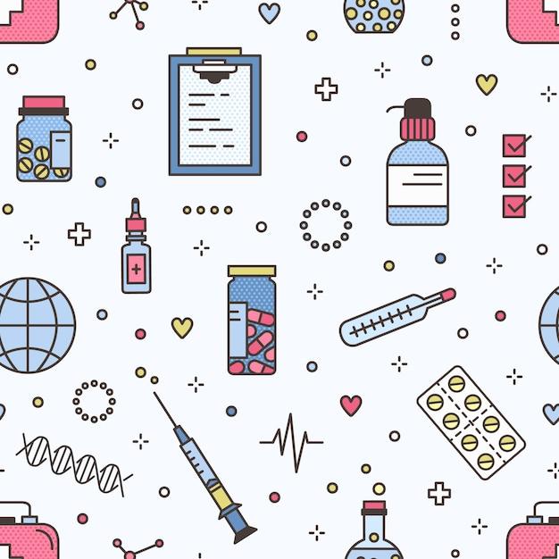 Бесшовный фон с таблетками в банки и волдыри и медицинские инструменты. фон с лекарствами или наркотиками и лабораторное оборудование на светлом фоне. красочные иллюстрации в современном стиле арт-линии. Premium векторы