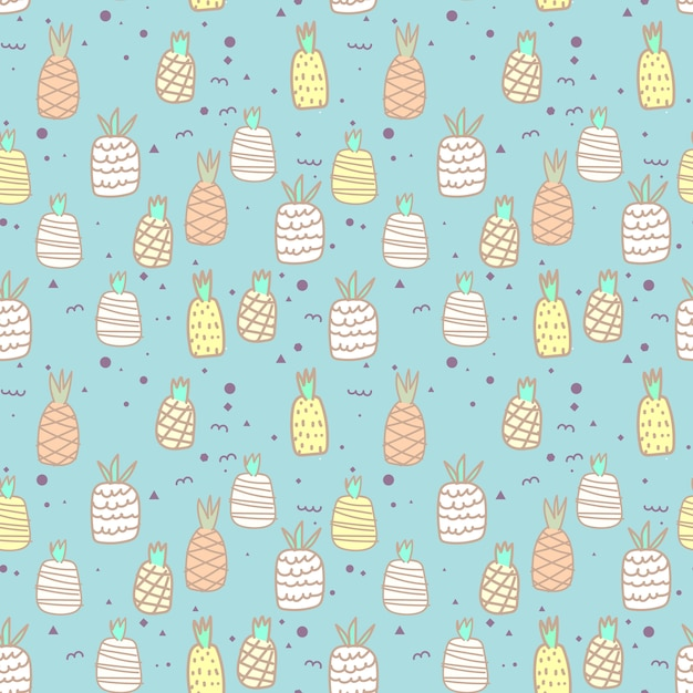 Seamless pattern with pineapple. vector illustrations for gift wrap design. Premium Vector