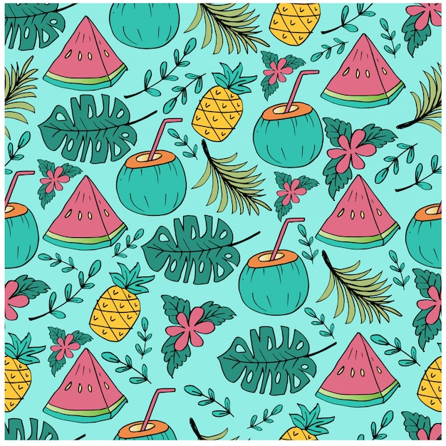 Seamless pattern with pineapple, watermelon and coconut slice. Premium Vector