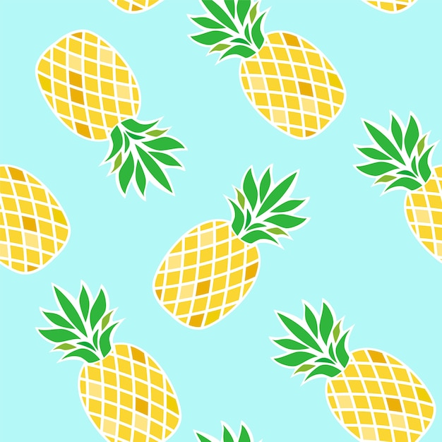 Seamless pattern with pineapples on blue background. Premium Vector