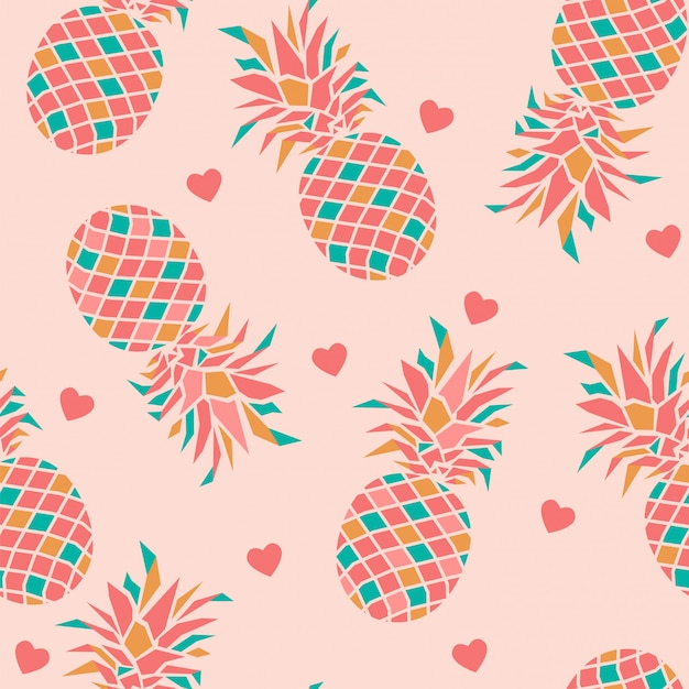 Seamless pattern with pineapples and heart. Premium Vector