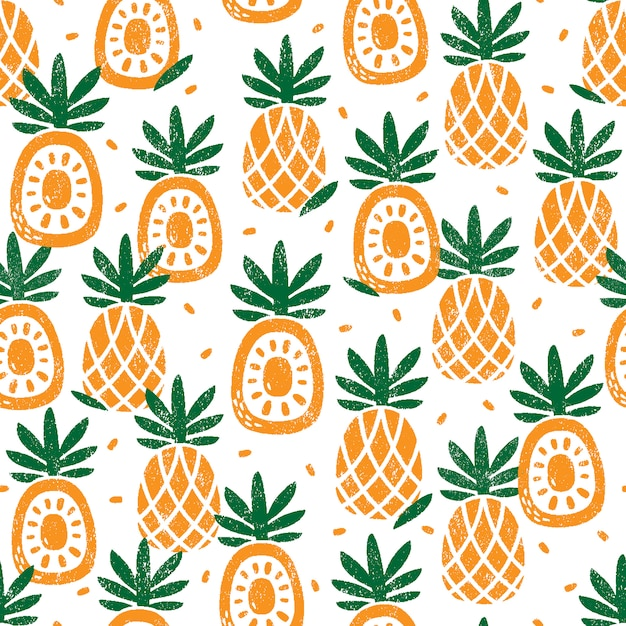 Seamless pattern with pineapples Premium Vector