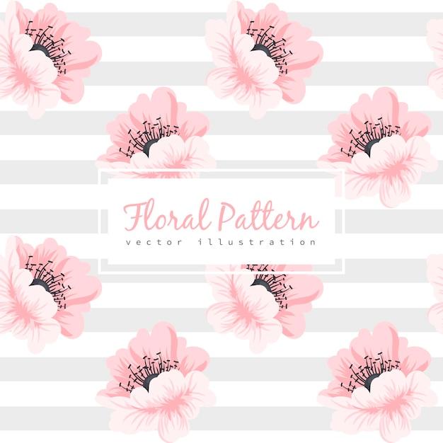 ピンクの花とのシームレスなパターン 無料ベクター