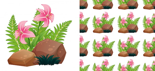 Seamless pattern with pink lily flowers on stones Free Vector