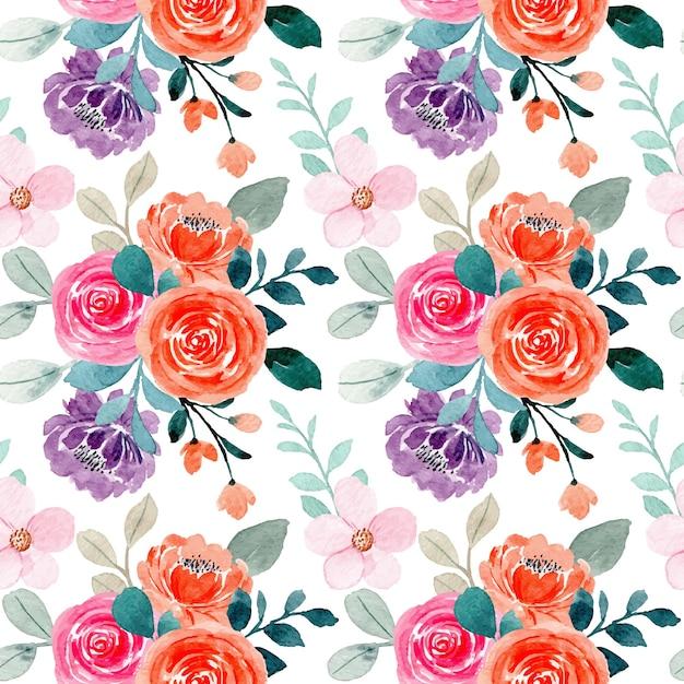 ピンクオレンジ色のバラの花の水彩画とのシームレスなパターン Premiumベクター