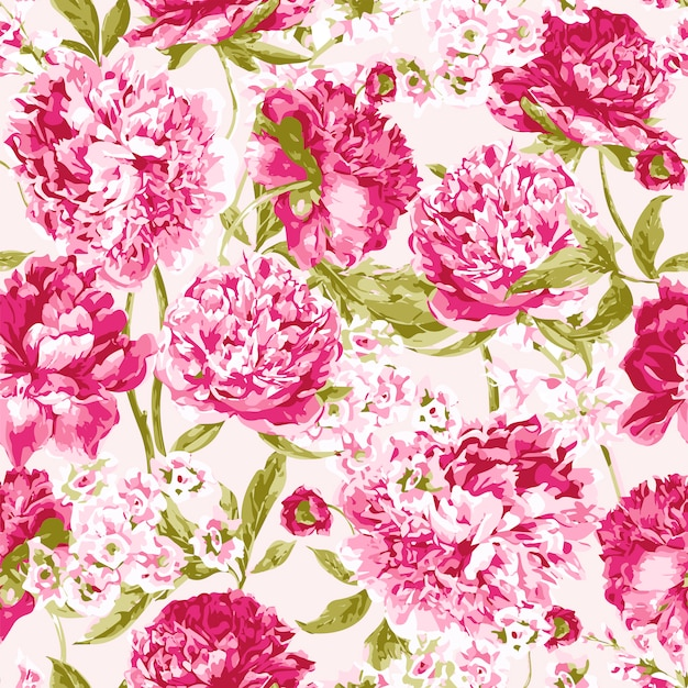 Seamless pattern with pink peonies Premium Vector