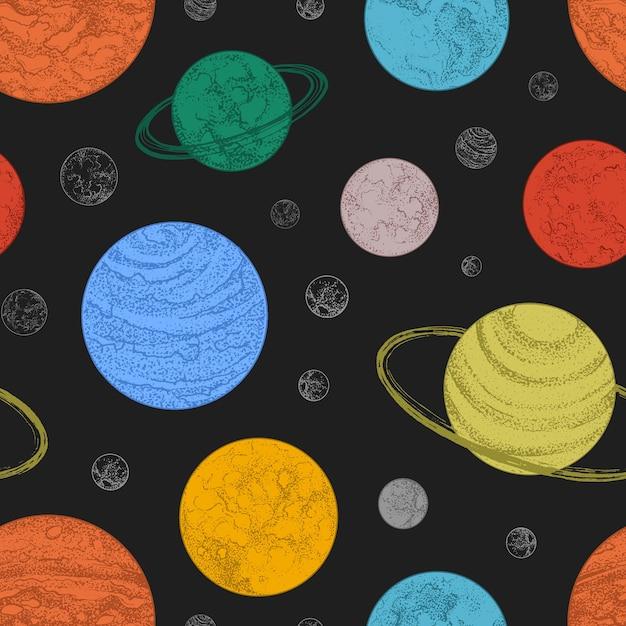 宇宙空間の惑星や他の天体とのシームレスなパターン。 Premiumベクター