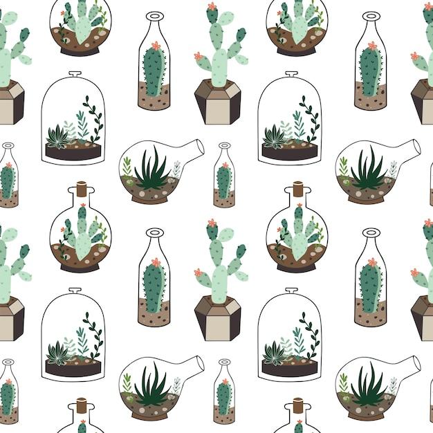 Seamless pattern with plants in terrarium. Premium Vector
