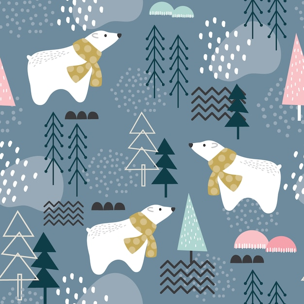 Seamless pattern with polar bear, forest elements and hand drawn shapes Premium Vector