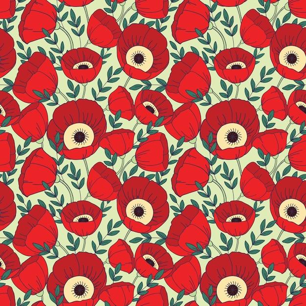 ポピーの花とのシームレスなパターン Premiumベクター