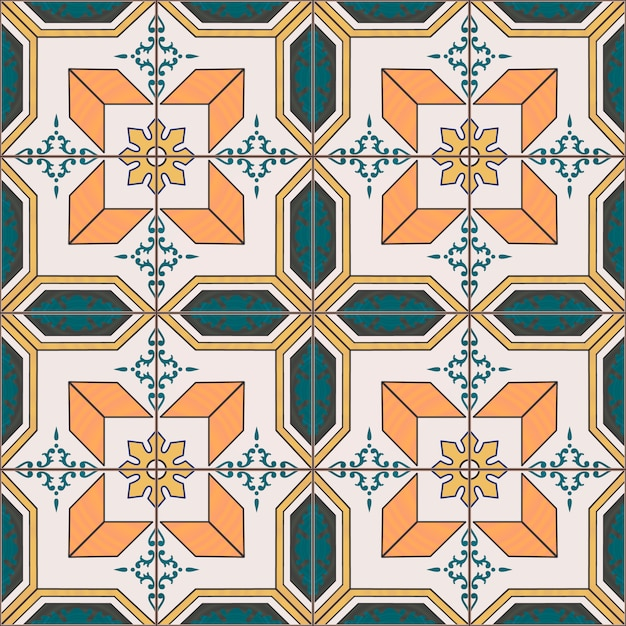 Seamless pattern with portuguese azulejo tiles. Premium Vector