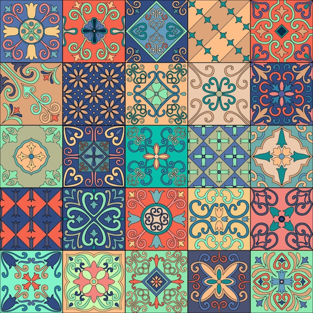 Seamless pattern with portuguese tiles in talavera style. Premium Vector