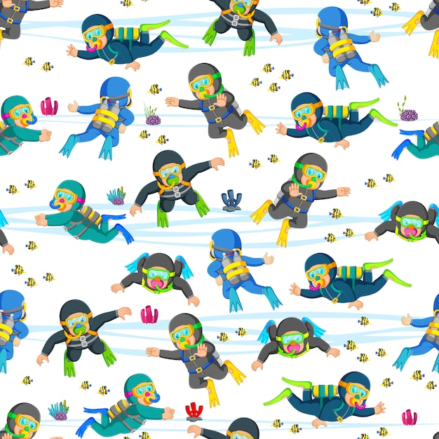 Seamless pattern with professional diving in action Premium Vector