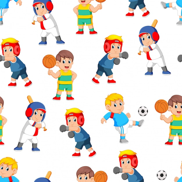 Seamless pattern with professional sports Premium Vector