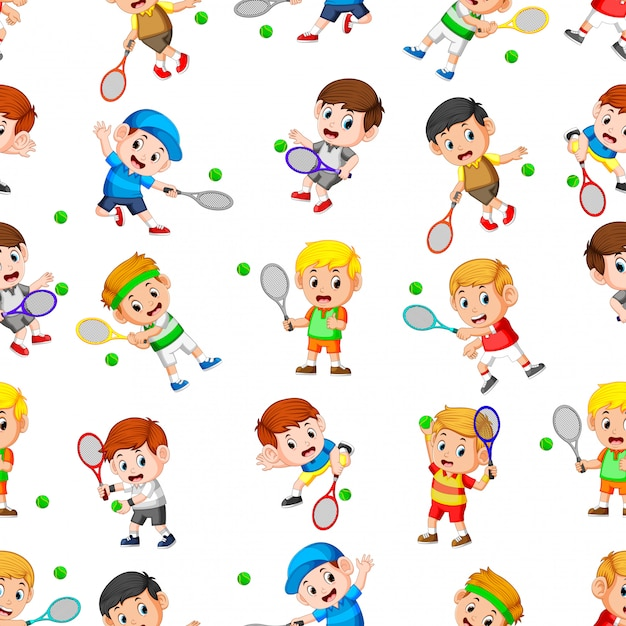Seamless pattern with professional tennis in action Premium Vector