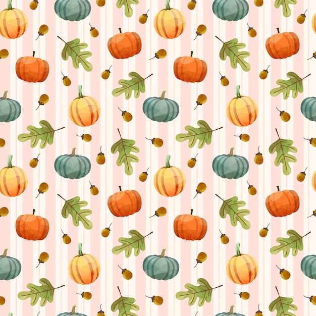 호박, 호두, 잎과 완벽 한 패턴입니다. 무료 벡터