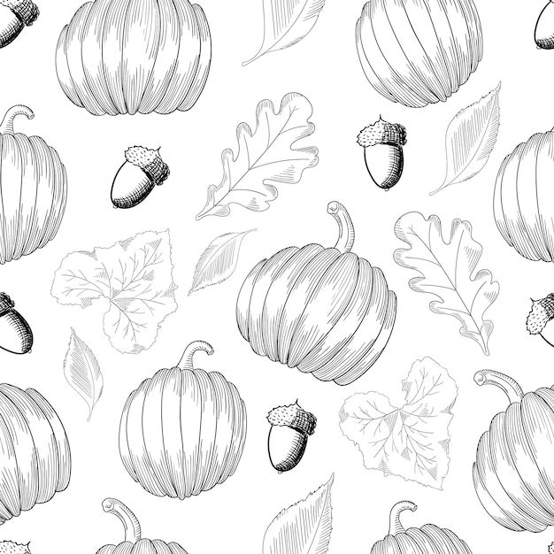 Seamless pattern with pumpkins and leaves and acorns. sketch Premium Vector