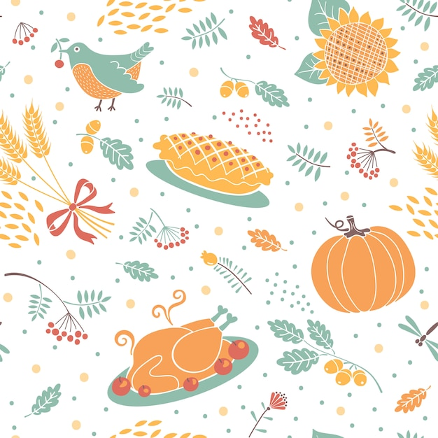 Seamless pattern with pumpkins, leaves, wheat and turkey. Premium Vector
