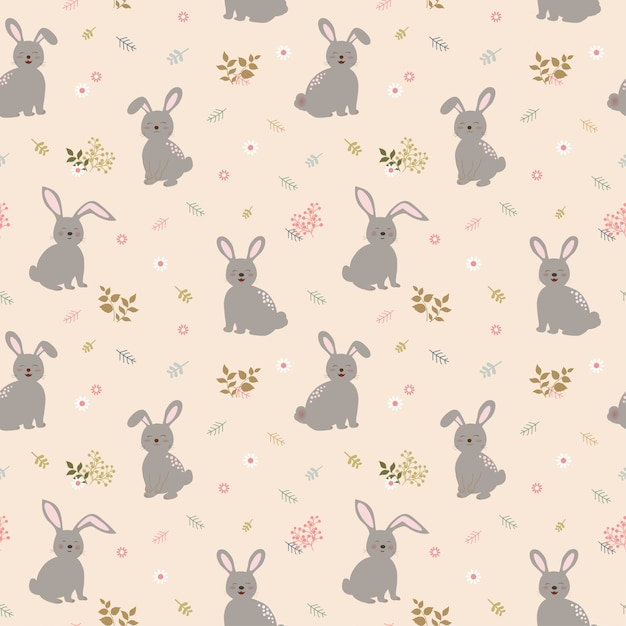 Seamless pattern with rabbits the gang on cute floral background Premium Vector