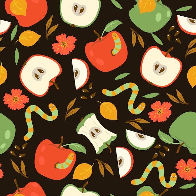 Бесшовный фон с красными и зелеными яблоками и червями на темном фоне. графика. Premium векторы
