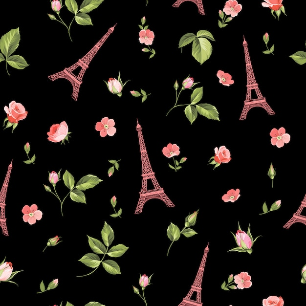 Seamless pattern with red flowers, leaves and eiffel tower. Premium Vector