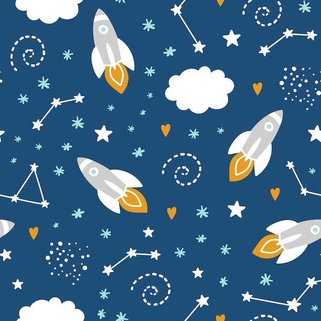 Seamless pattern with rocket and stars in space Premium Vector