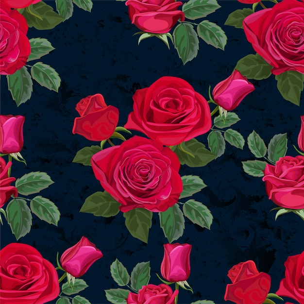 Seamless pattern with rose flower vector illustration Premium Vector