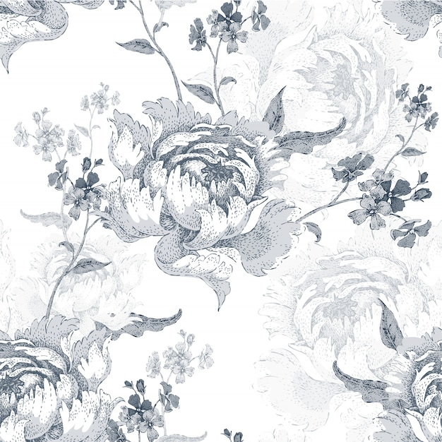 Seamless pattern with roses Premium Vector