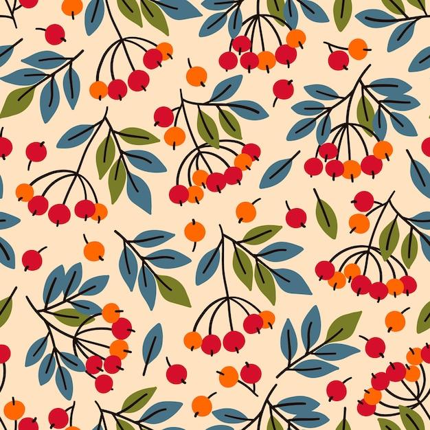 ナナカマドの枝とのシームレスなパターン。布、テキスタイル、包装紙に最適です。 Premiumベクター