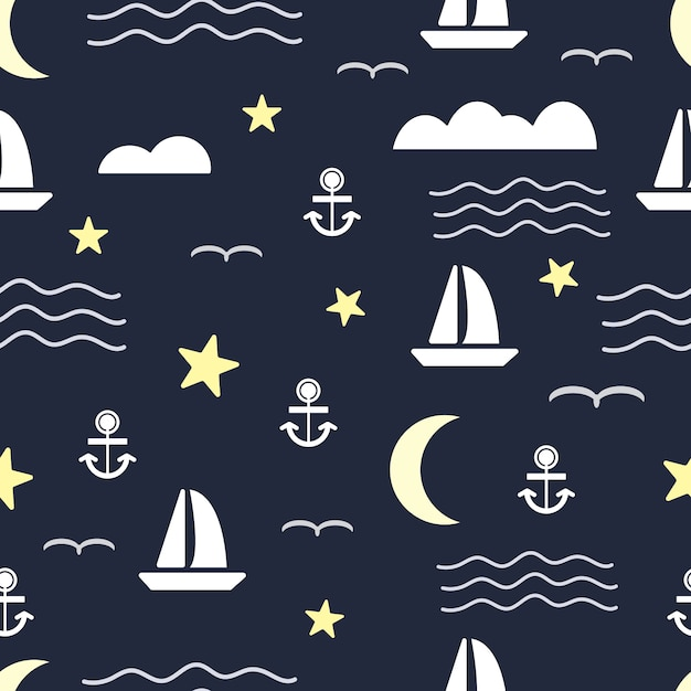 Seamless pattern with sailboat and anchor on sea Premium Vector