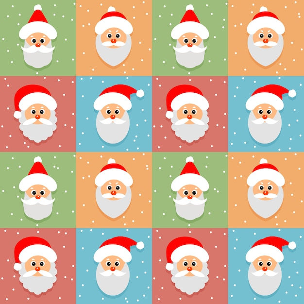 Seamless pattern with santa claus avatar Premium Vector