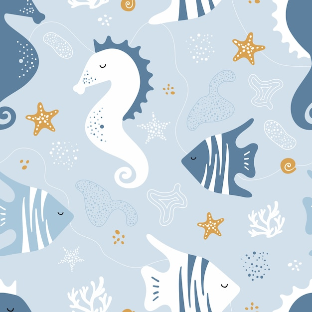 Seamless pattern with sea horses, fish Premium Vector