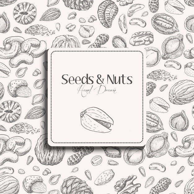 Seamless pattern with seeds and nuts Premium Vector